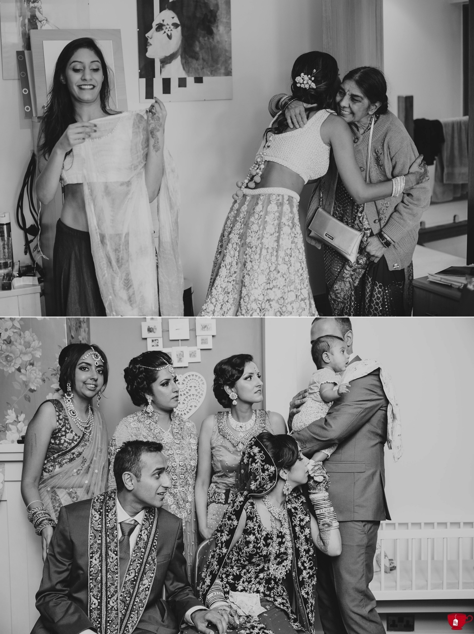 Black and white image of brides with family