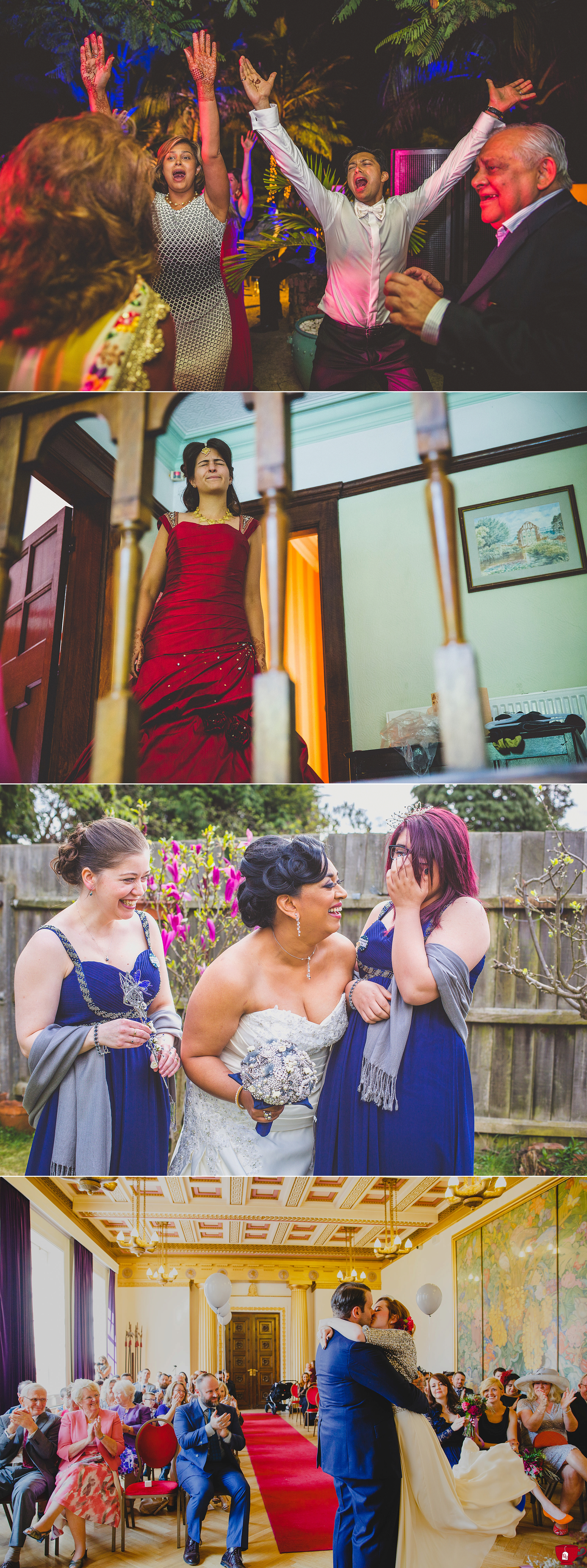 Bridesmaids and bride laughing loudly