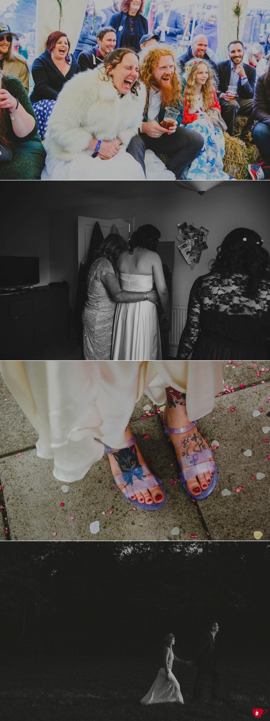 tattoo bride wearing jelly slippers